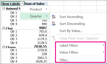 Filtering options for PivotTable data