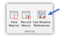 "screenshot showing the ""Use Relative References"" button"