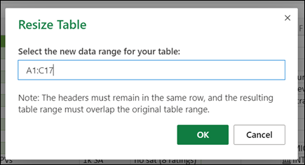 Resize Table dialog