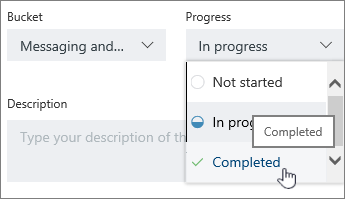 Click the task, and select another status in details