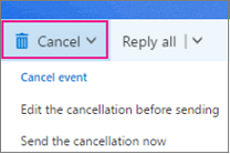 Meeting cancellation options