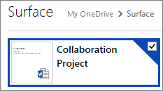 A document selected in OneDrive for sharing