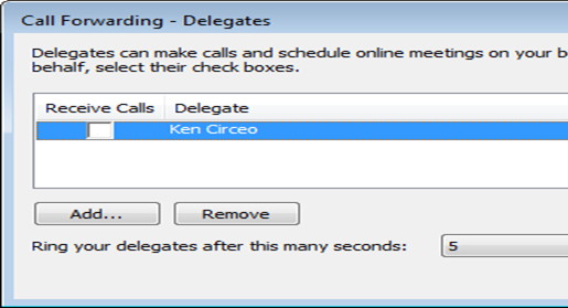 Screenshot of adding delegate in Lync
