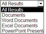 Results choices including All Results, Documents, Word Documents, Excel Documents, and PowerPoint Presentations