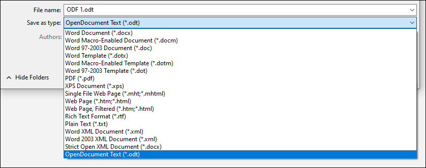 List of file formats from Word with ODT file format highlighted