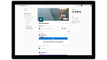 Yammer home page with communities