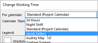 Resources in the For calendar list