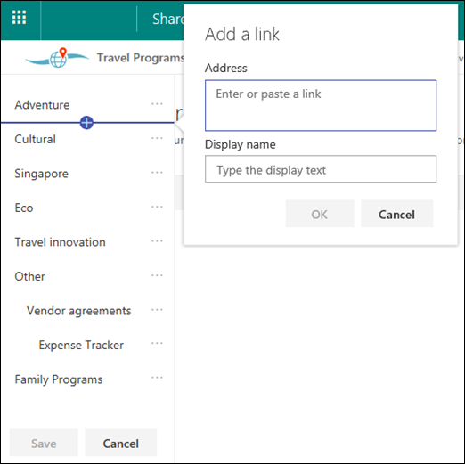 Edit SharePoint hub navigation