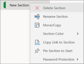 Screenshot of the context menu for deleting a section tab in OneNote for Windows 10.