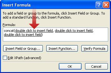 Double-clicking to insert the first field to use as part of the form name