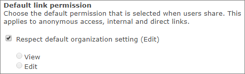 Screenshot of default link permissions setting for a site collection