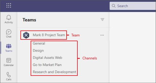 Teams and channels menu