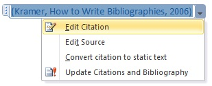 Edit citations in your reference bibliography.