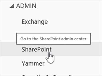 SPO admin center with SharePoint highlighted