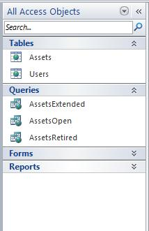 Navigation Pane displaying the All Access Objects group in the Object Type category