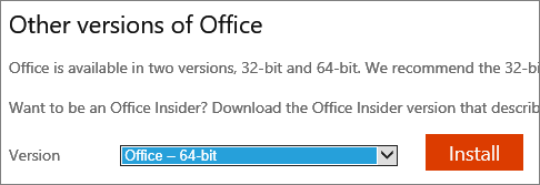 Screenshot of drop-down list to select the option to install Office - 64-bit