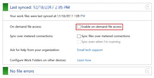 Work folders control panel applet