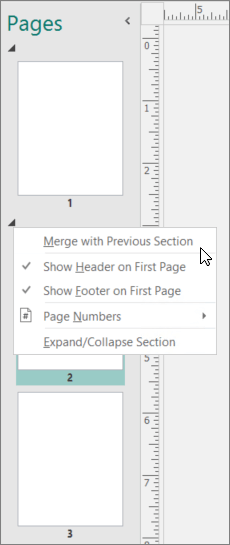 A screenshot shows a section selected with the cursor pointing to the Merge with Previous Section option.