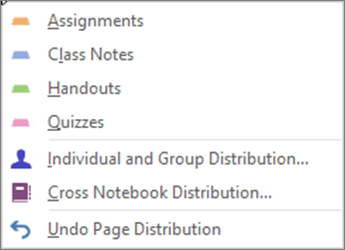 Distribute Pages Dropdown with Assignments, Class Notes, Handouts, Quizzes, Individual and Group Distribution, Cross Notebook Distribution, and Undo Page Distribution.