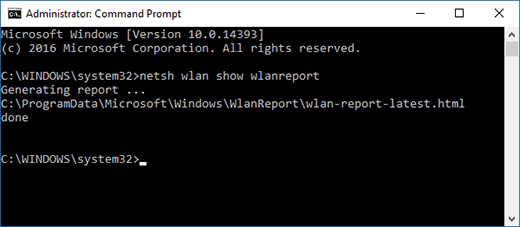 Create a network report in a command prompt window