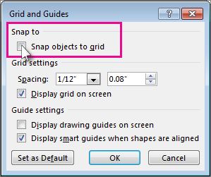 Turn the snap to grid and snap to object options on or off