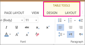 Image of Design and Layout tabs under Table Tools in Word Online
