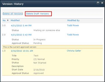 Version History dialog box with Delete Draft Versions selected