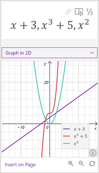screenshot of math assistant generated graph of three equations, x plus 3 in purple, x to the third plus 5 in red, and x squared in green.