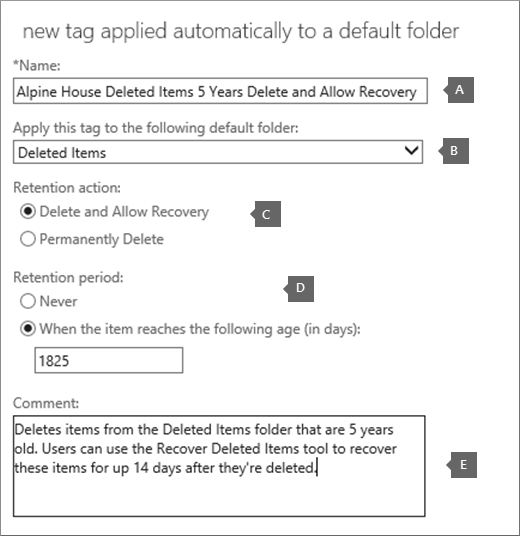 Settings to create a new retention policy tag for the Deleted Items folder