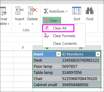 the clear all command on the ribbon to delete a table