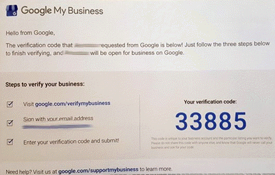 Screenshot: Microsoft Listings - Verify your business Google postcard