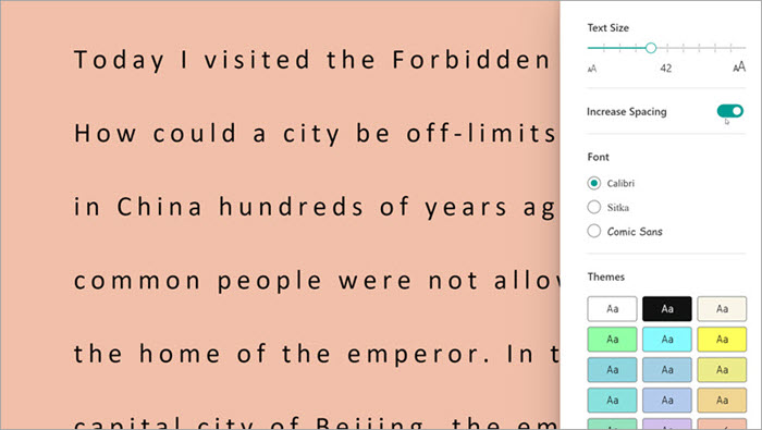 screenshot of immersive reader in Reading Progress. options are shown including text size, spacing and background color