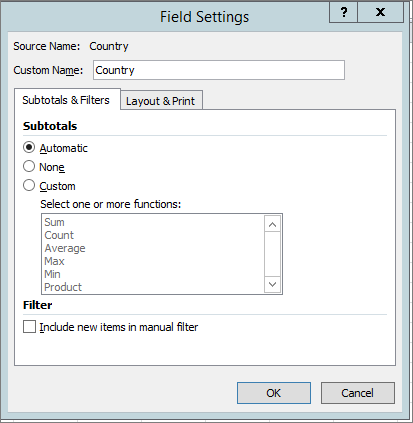 Subtotals & Filters tab in Field Settings dialog box