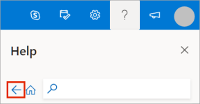 Outlook.com help pane with back button highlighted