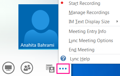 Screen shot of more options in Lync meeting
