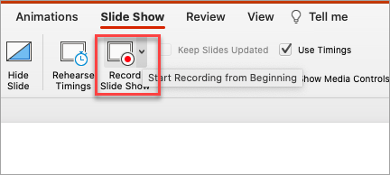 Show's record slide show option