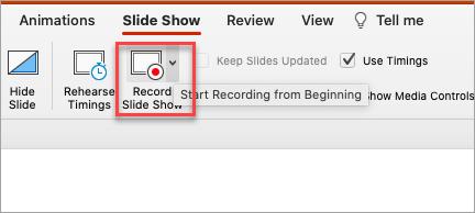Show's record slide show option