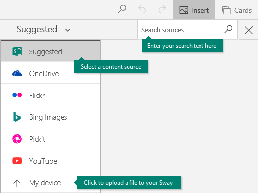 Insert command and content search box