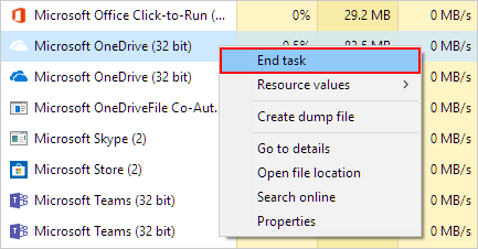 How to End task for OneDrive in Task Manager