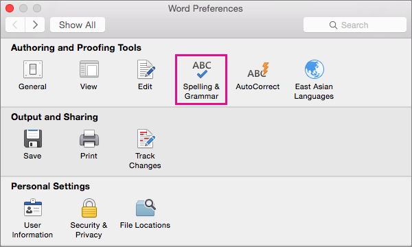 Click Spelling & Grammar to change settings for checking spelling and grammar.