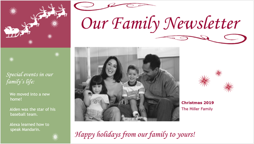 Image of a holiday family newsletter with photo