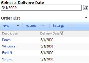 The List Web Part shows only the items with the delivery date selected in the SharePoint List Filter Web Part.