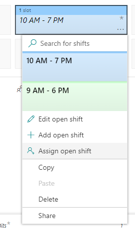 Assign open shifts