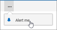 Alert Me menu with Alert me selected