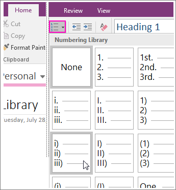 Screenshot of how to add numbering to a page in OneNote 2016.