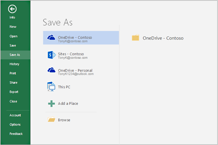 Save options in Office 2016
