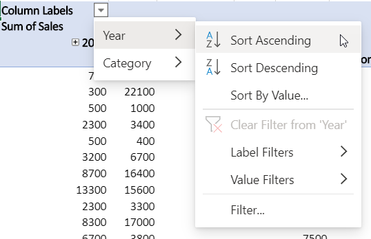 Rows area with combined filters