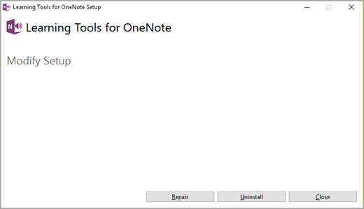 Learning Tools Add-in Modify Setup screen.