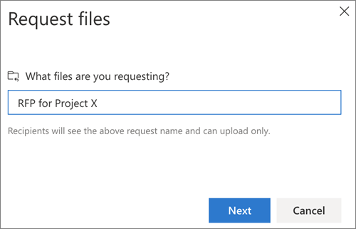 The Request files dialog box after requesting files in OneDrive for Business