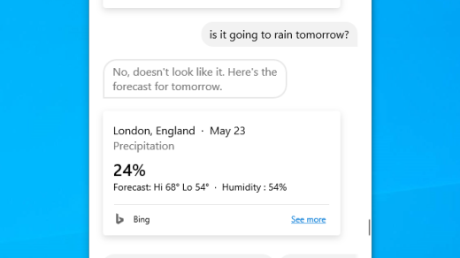 Get the weather forecast with Cortana in Windows